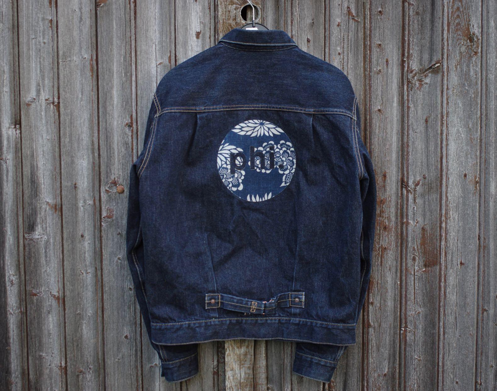 veste en jean japonais de la marque Phi denim avec le logo en KIKU KARAKUSA 2