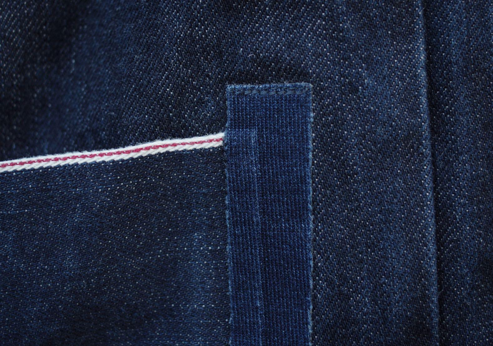 liseret selvedge d'une poche en denim modèle Iki Phi Denim