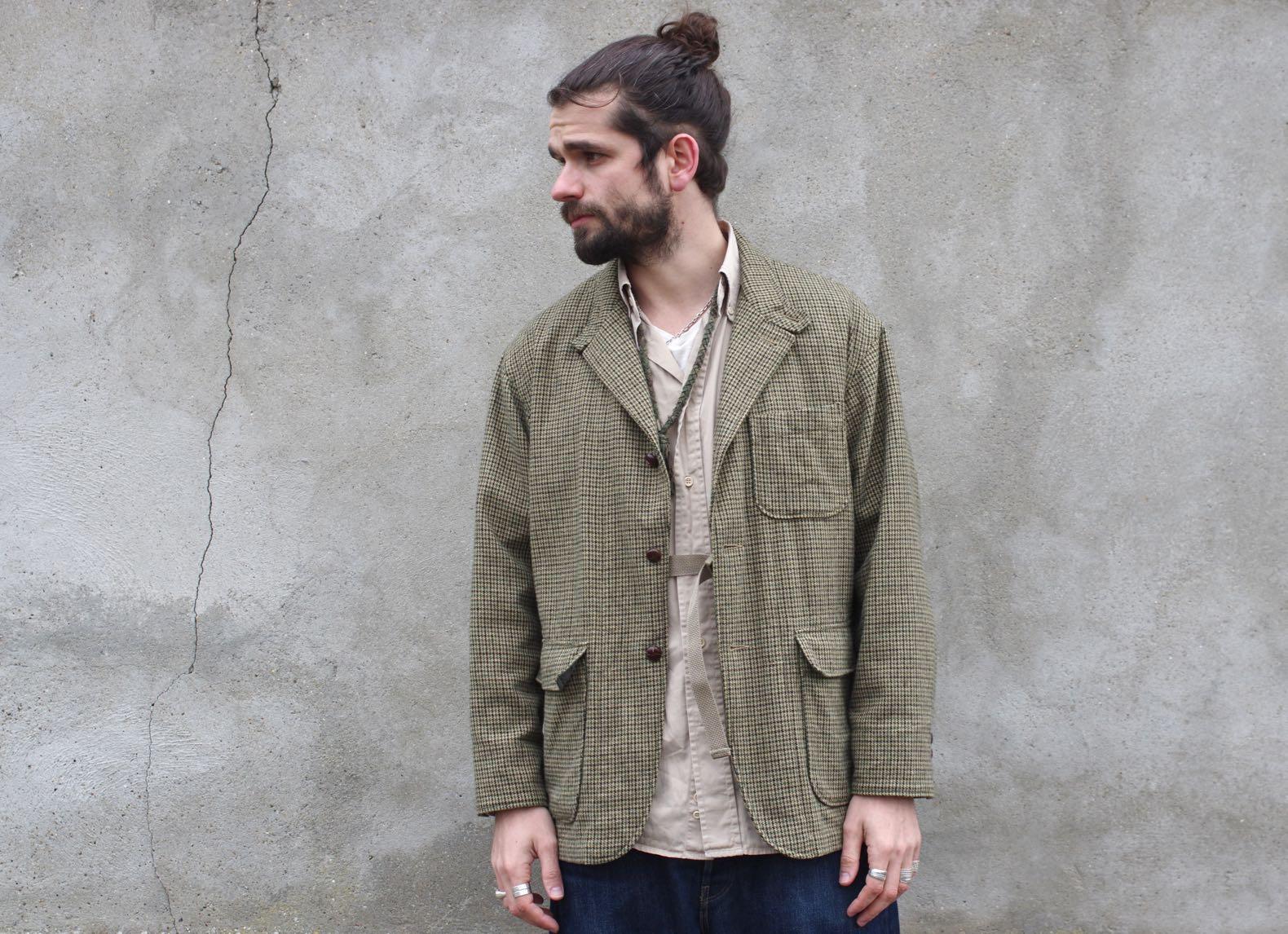 veste à motif pied de poule Loiter jacket et une chemise vintage façonnable beige
