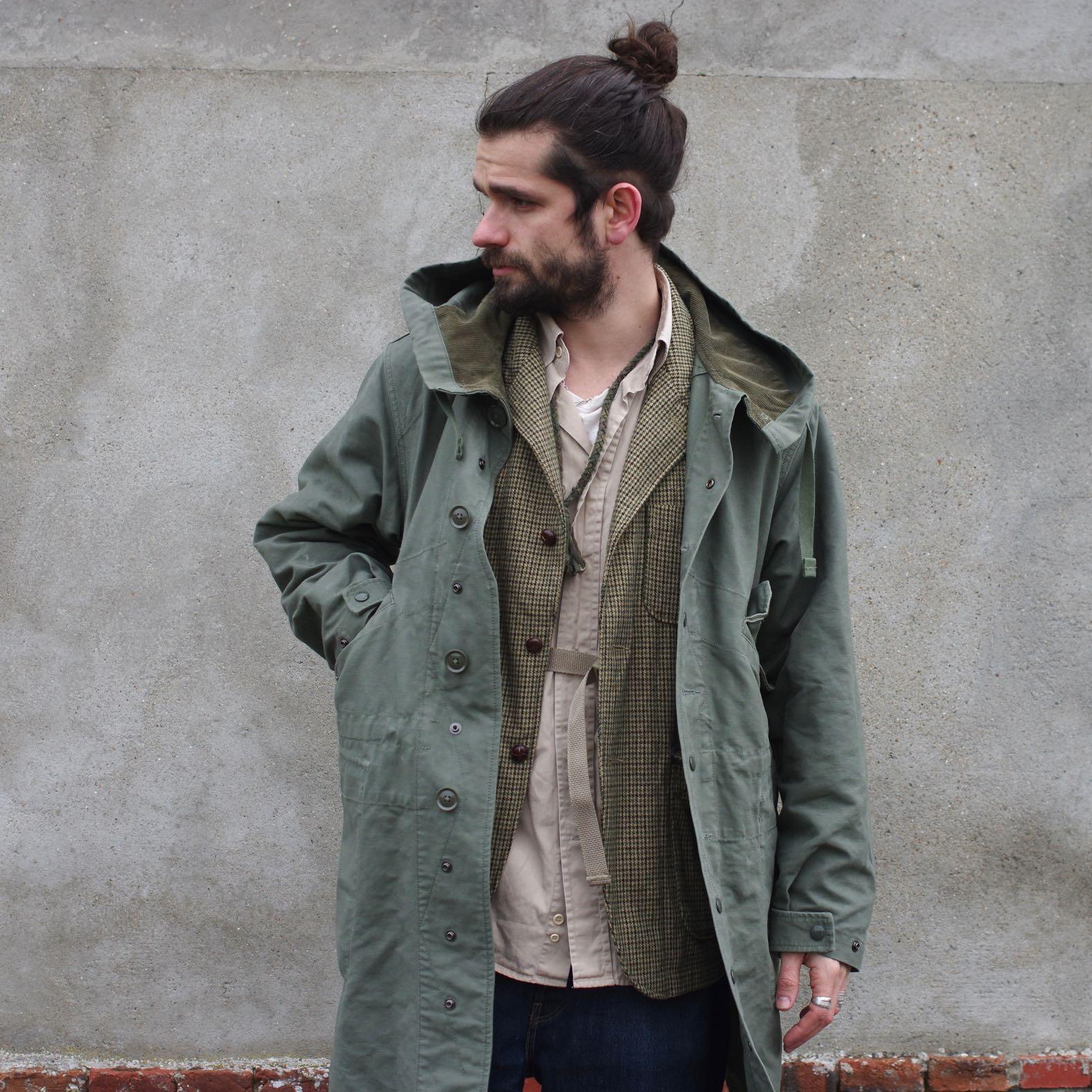 tenue parka fishtail engineered garments double cloth et veste loiter pied de poule