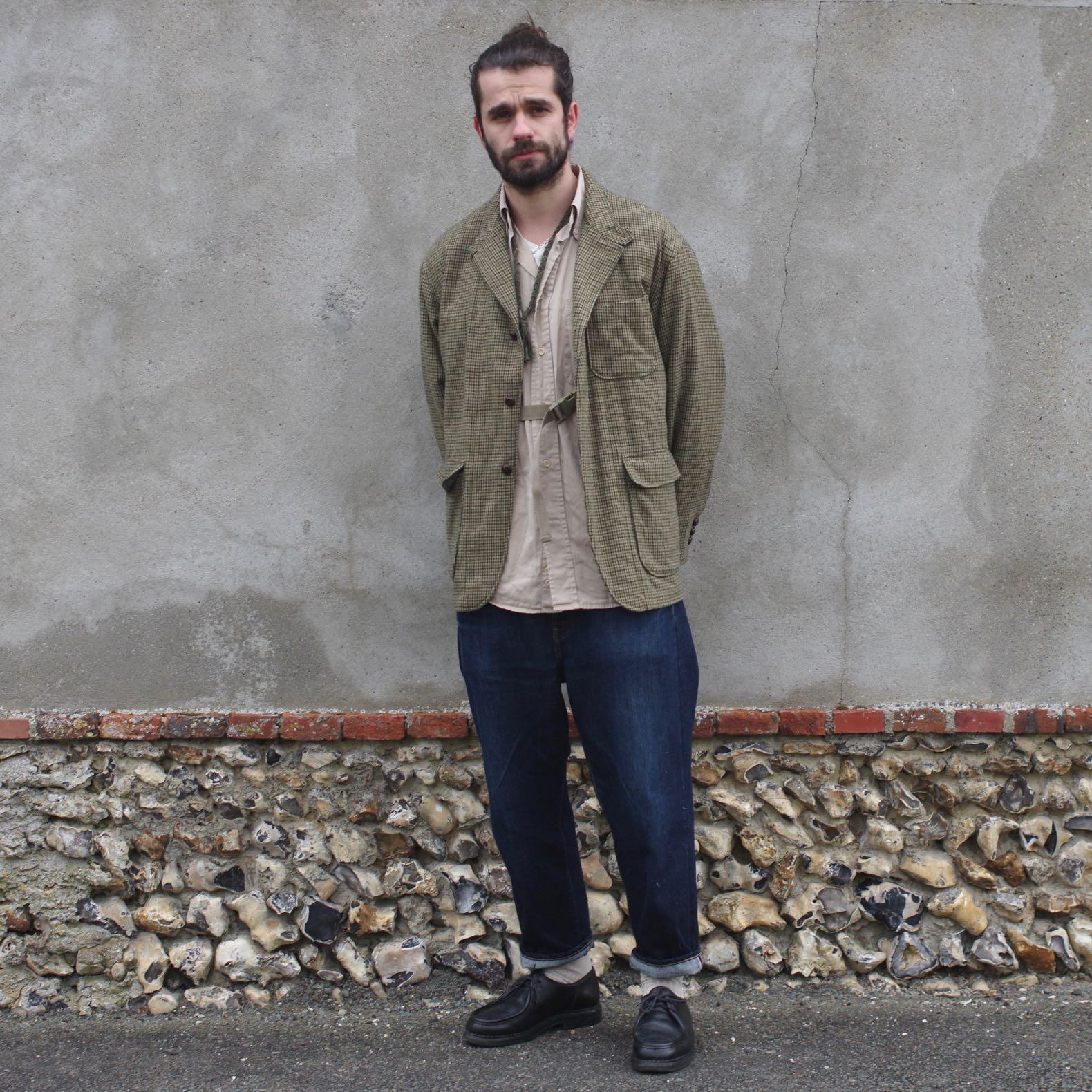 tenue-homme-veste-pied-de-poule-et-jean-brut-japonais-large-avec-paraboot-michael-noire