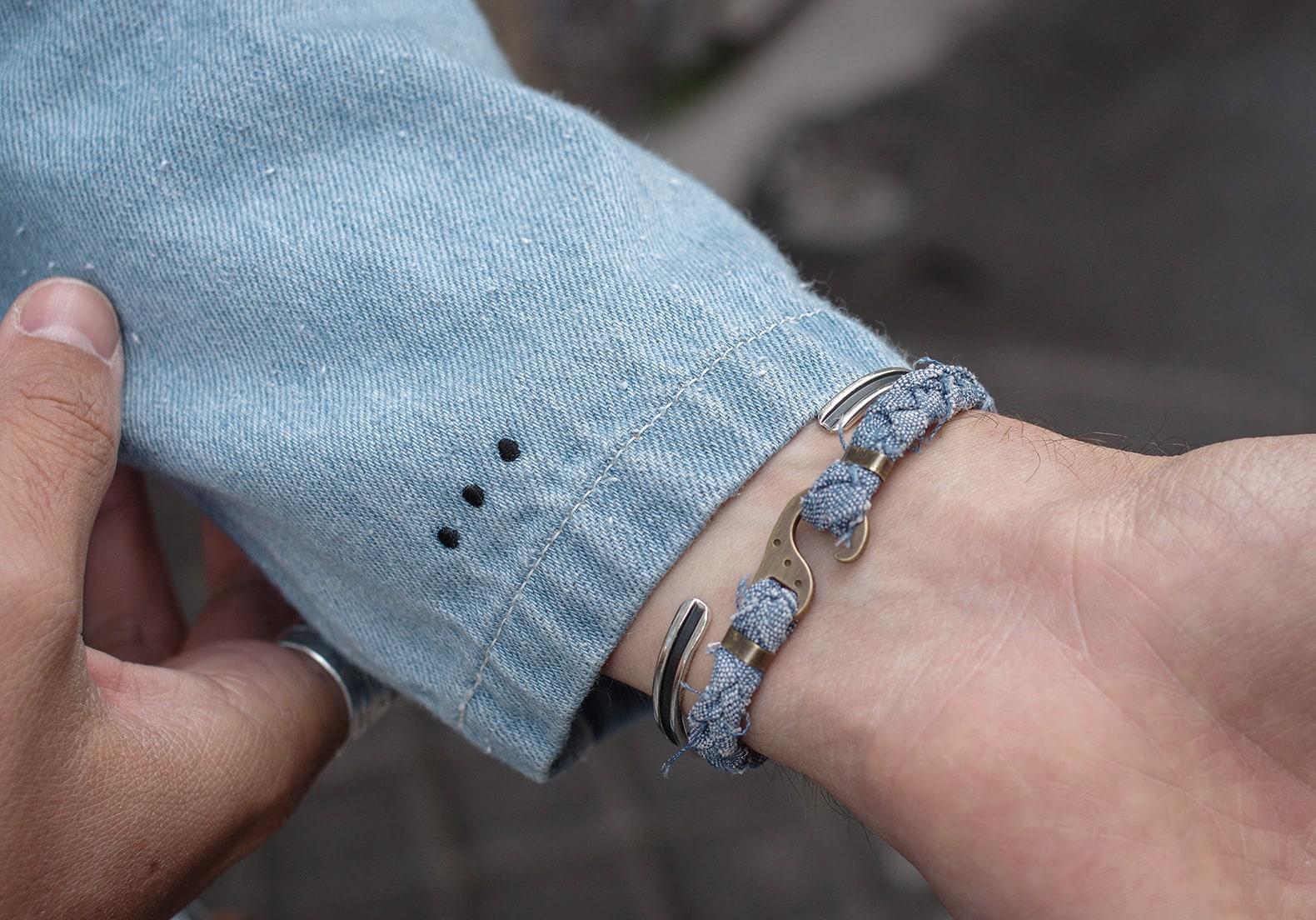 bijoux bracelet homme ethique en tissus upcycling tressé en chambray japonais