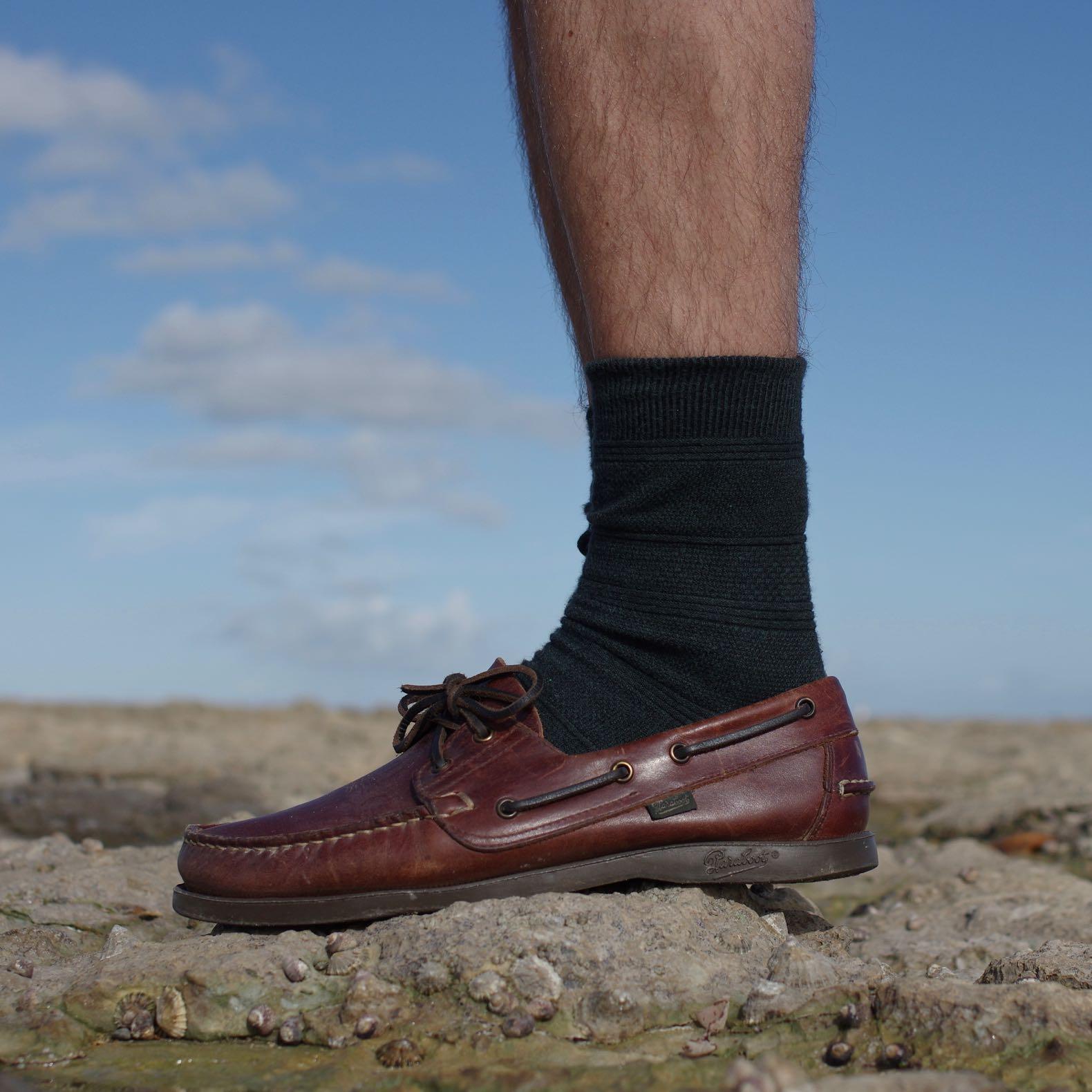 une paire de chaussures bateau en cuir marron de la marque Paraboot, le modèle Barth
