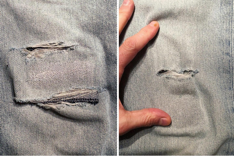 Borasification Sashiko jean montage avant reparation