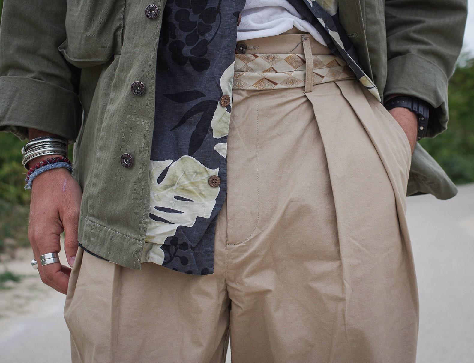 pantalon à pince type chino