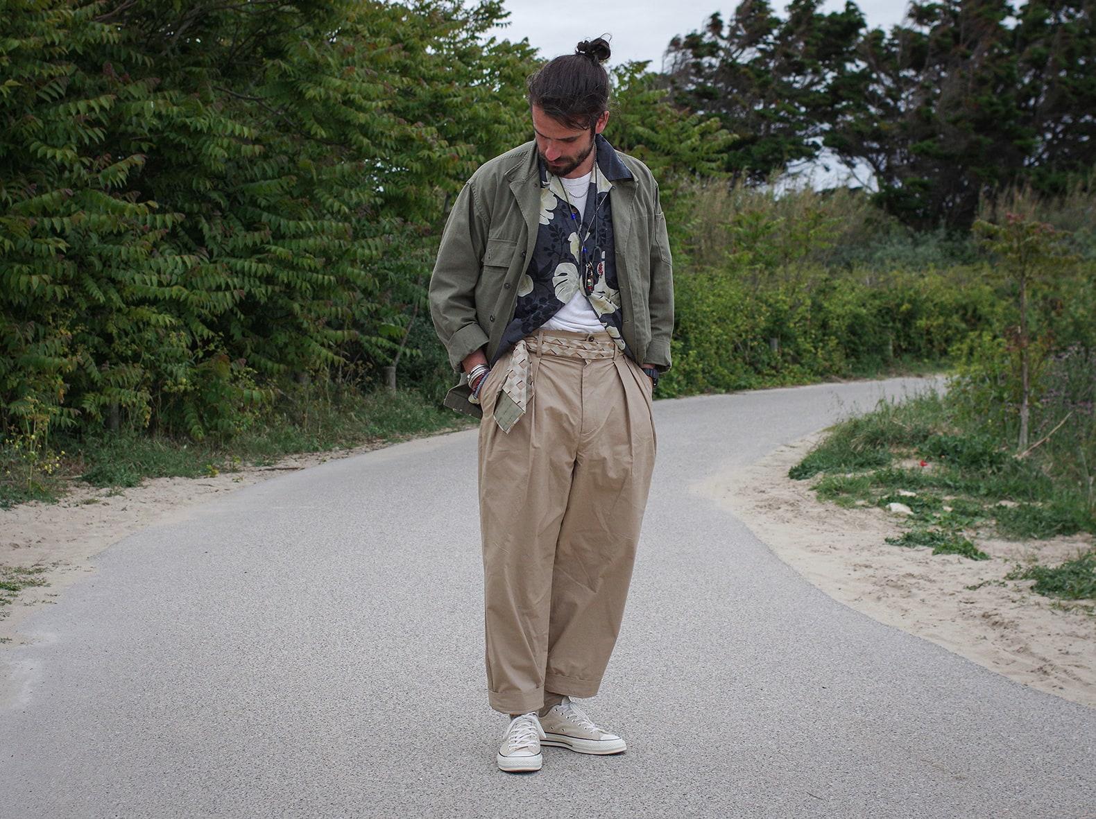 pantalon taille haute beige style chino de bonne facture