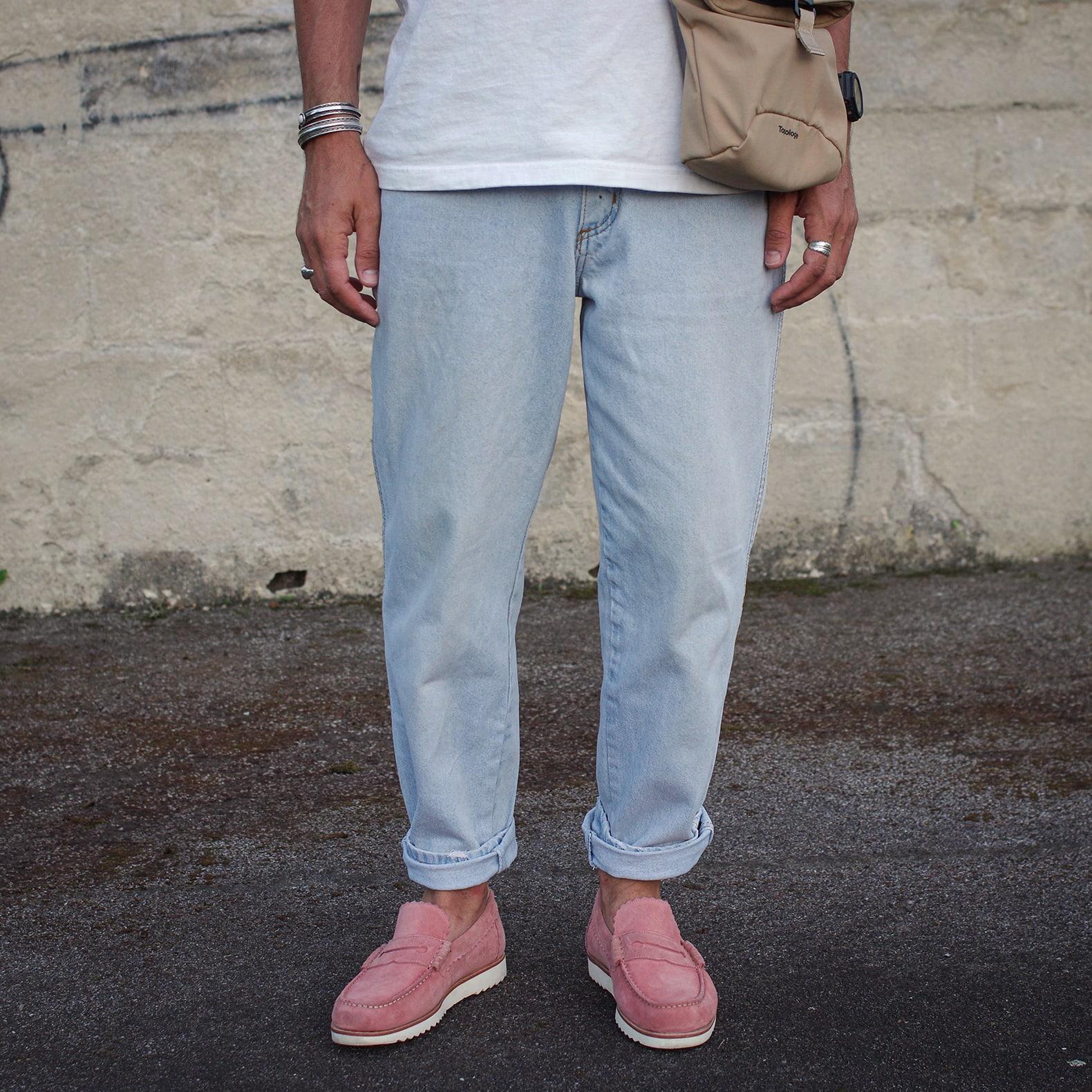 jean bleach wrangler mocassins penny loafers roses grenson