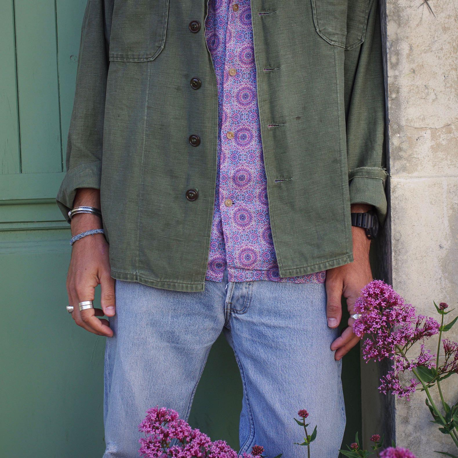 look-chemise-militaire-jeans-levis-501-vintage