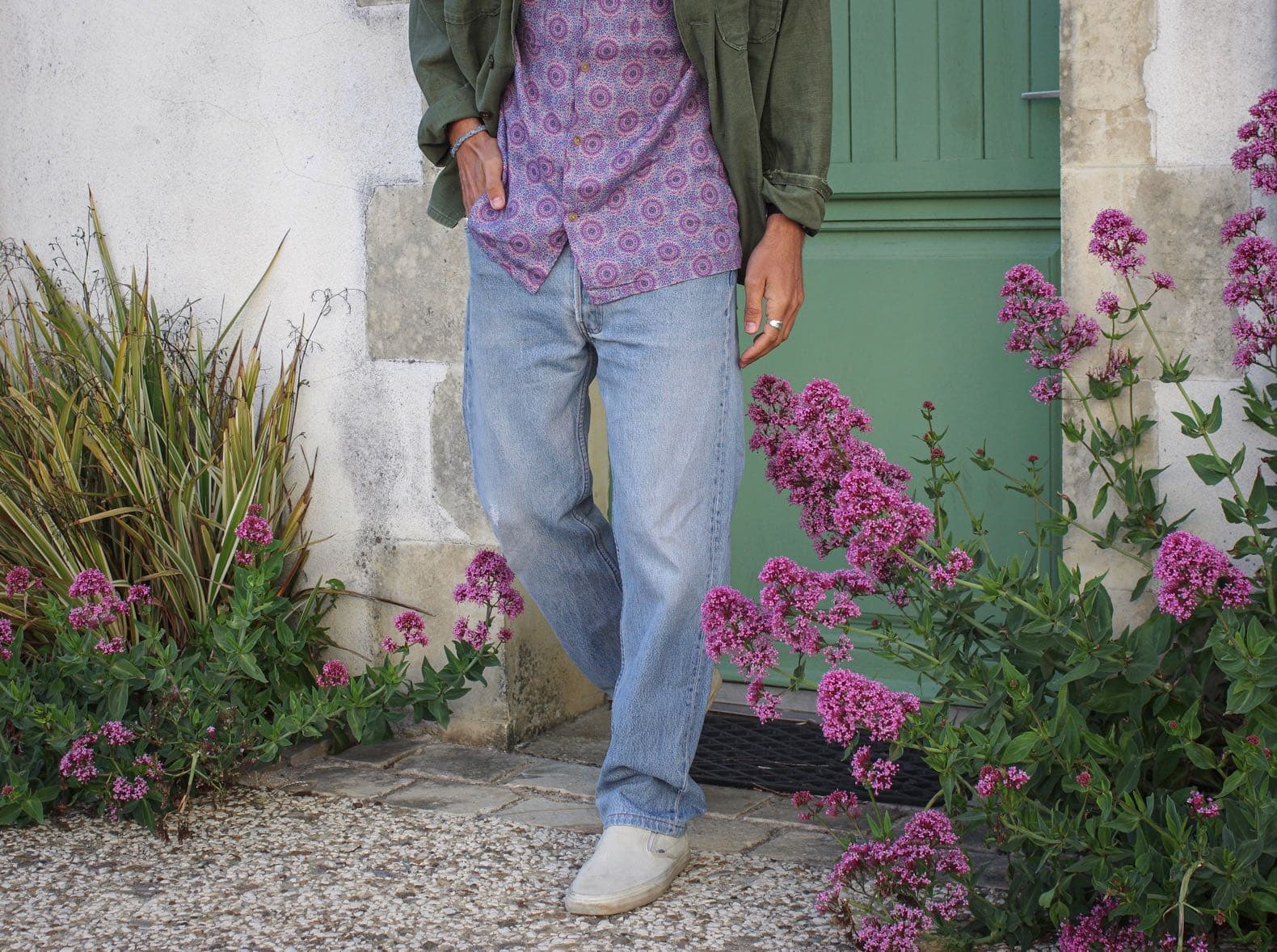 levis jean 501made in USA stone wash avec vans slip on