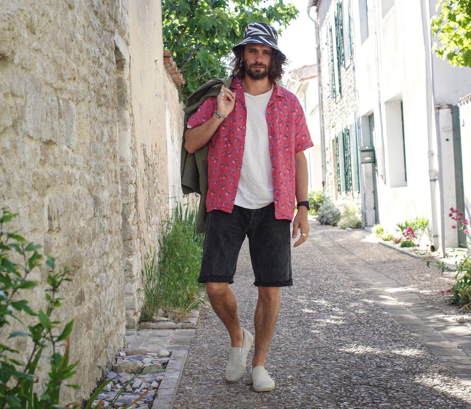 chemise manches courte en lin rose avec un imprimé zèbre de la marque histon projects
