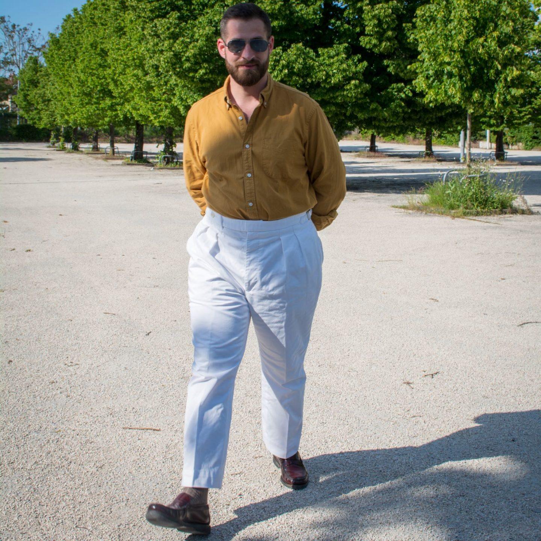 pantalon taille haute luxire blanc