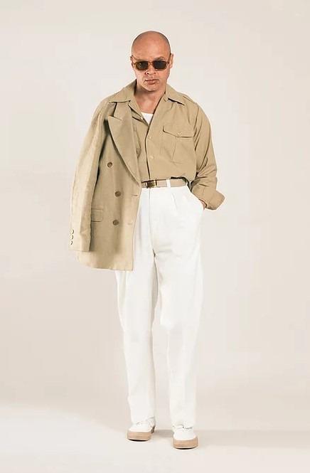 pantalon blanc taille haute de la marque casatlantic
