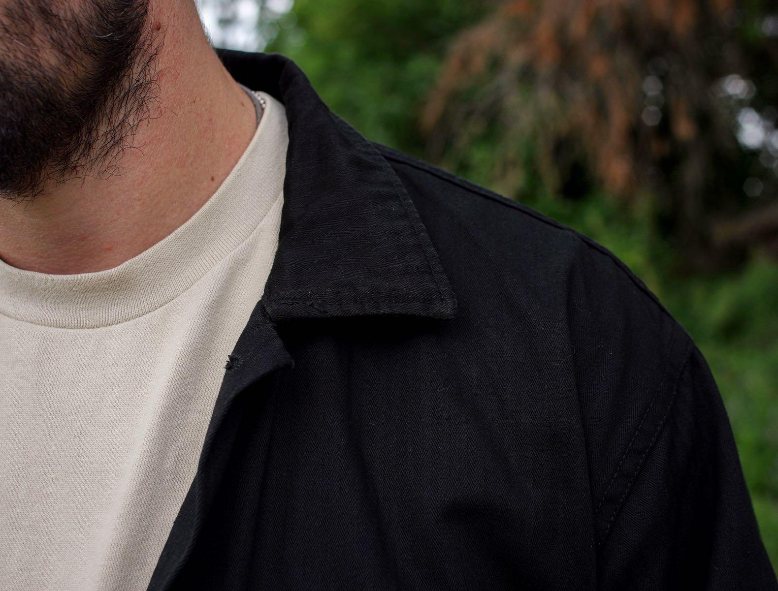 détail col chemise militair enoire arashi by boras