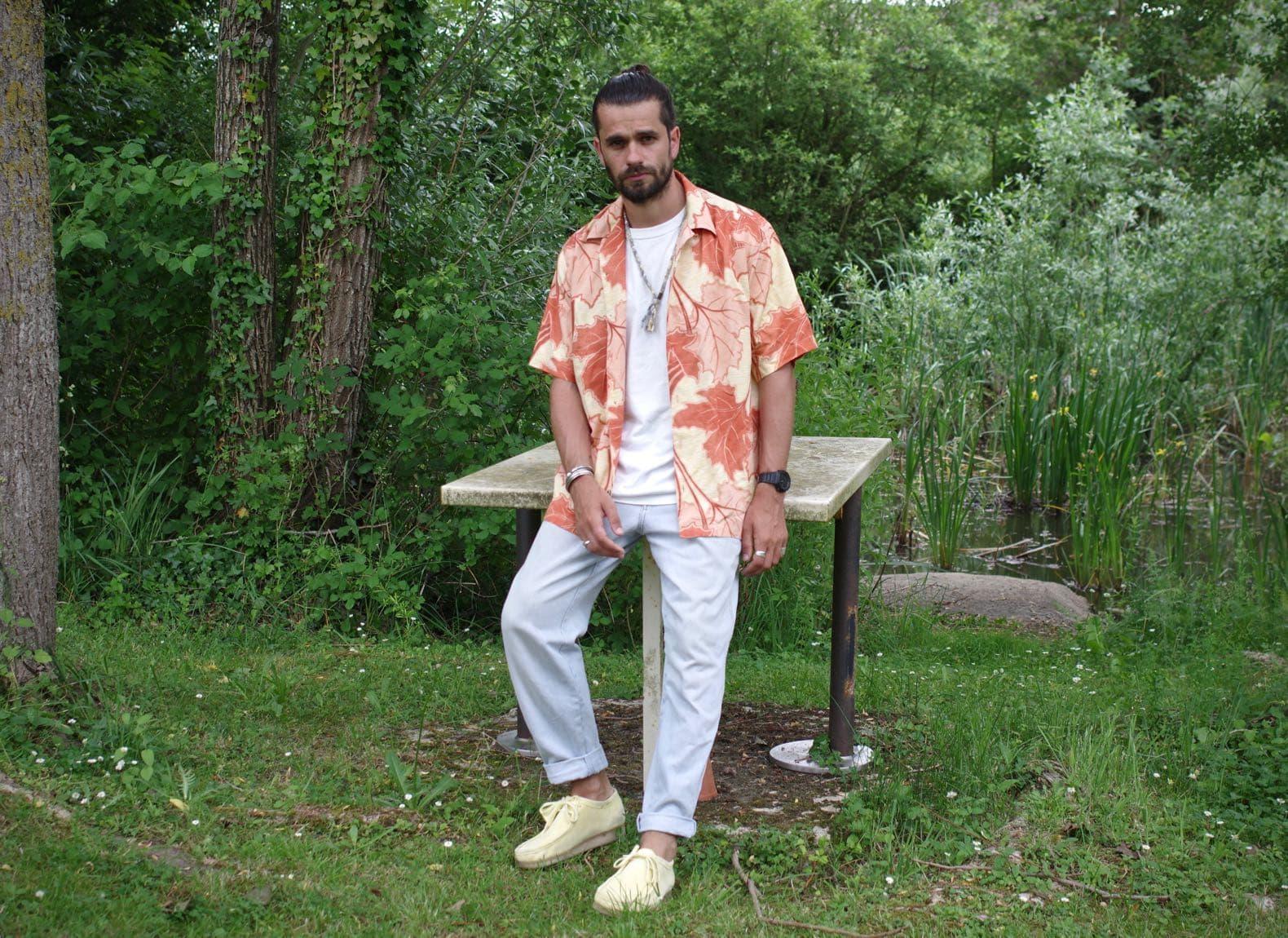 look homme chemise hawaienne jean bleach wrangler