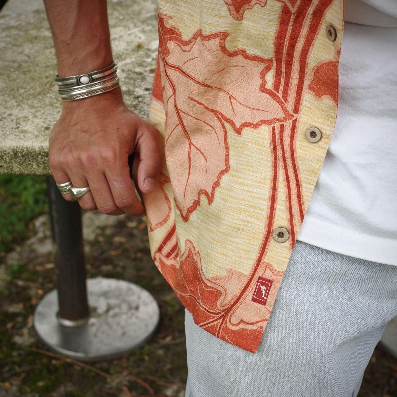 imprimé feuille érable chemise