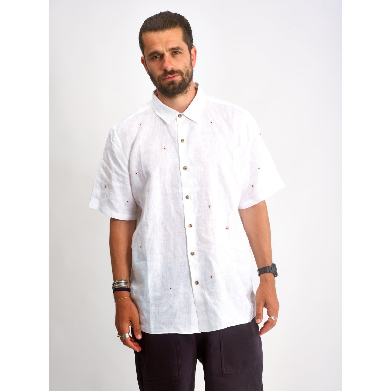 jbj shirt linen embroidery handmade