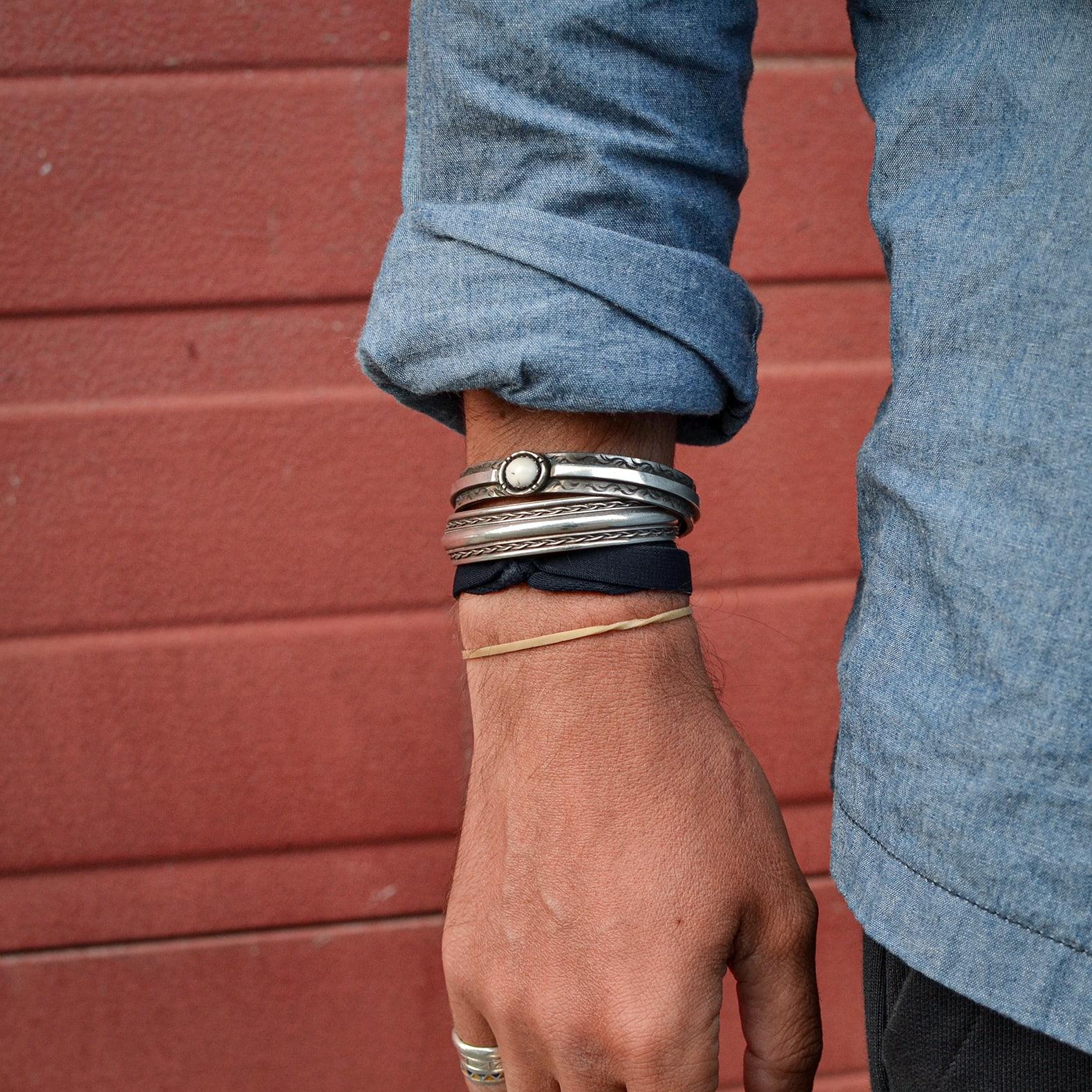 bracelet en argent bintage navajo amérindiens