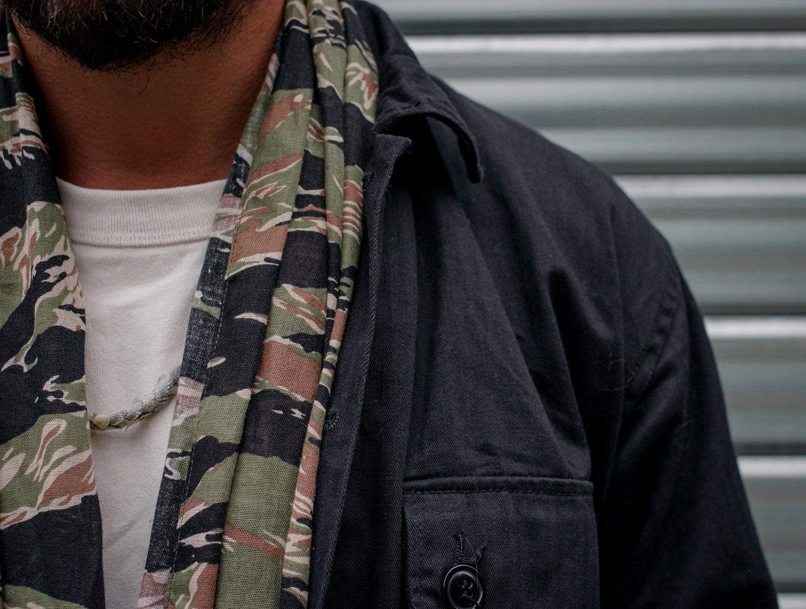 foulard en coton imprimé camouflage tiger stripe