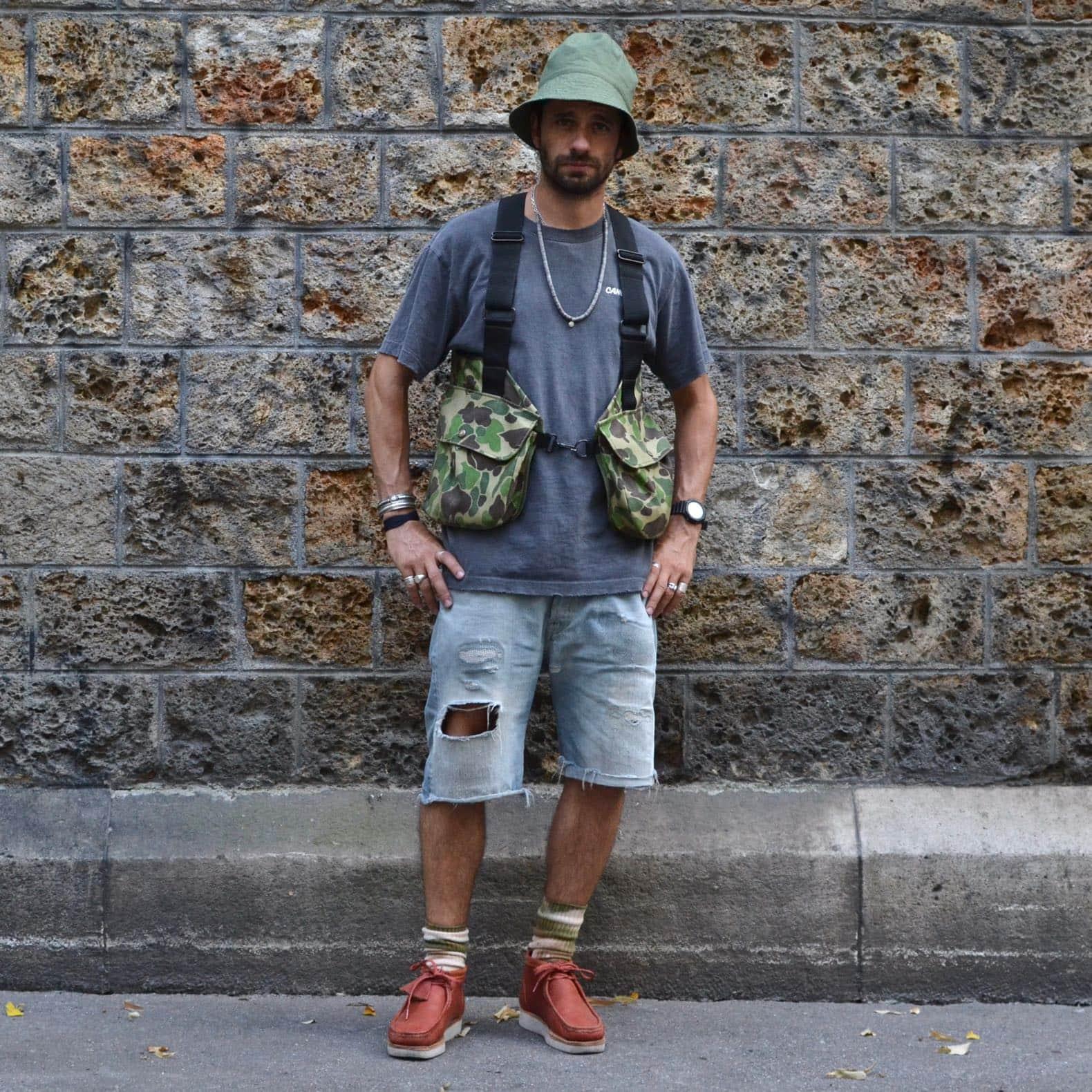 look mode homme avec gilet chasse vintage filson