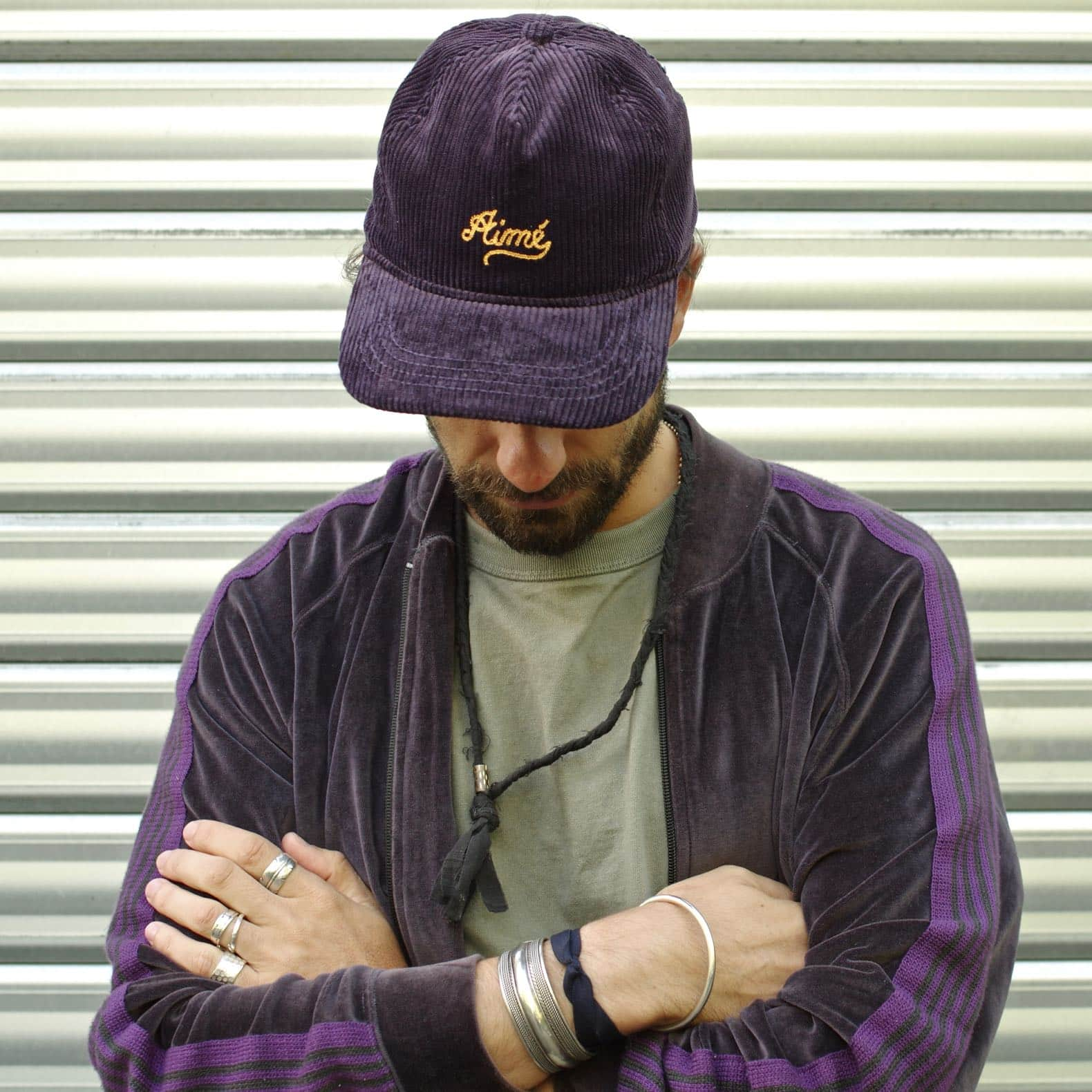 aimé leon dore casquette velours violet
